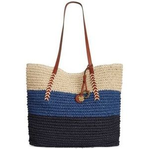 LUCKY BRAND Tango Straw Tote Bag-Surf Blue-Stripes